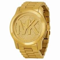 Michael Kors Runway MK5706 Gold Crystal Pave with Oversized Embossed MK
